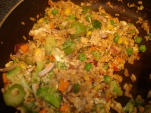 fried rice in skillet